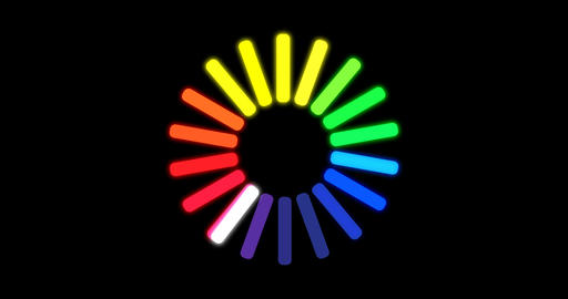 Loading color circle icon on black Footage