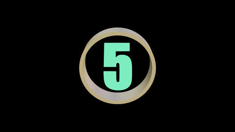 Countdown from five to one, colorful numbers in rotating ring, 3d animation Animation