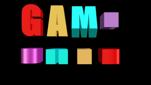 Game over outro with multicolored animated letters on… Stock Video Footage