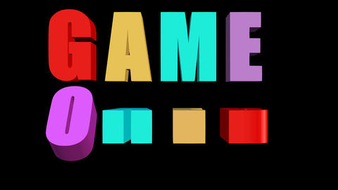 Game over outro with multicolored animated letters on black background, 3d Animation