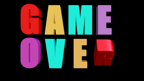 Game over outro with multicolored animated letters on... Stock Video Footage