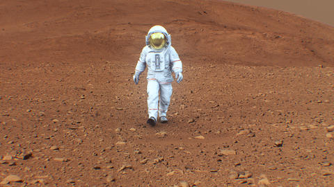 4K Astronaut on the surface of Mars. (Background elements furnished by NASA.) ビデオ