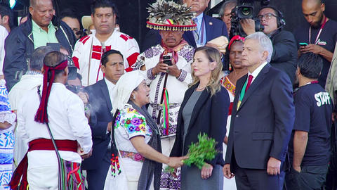 Mexican President participates in a ancient ritual Footage