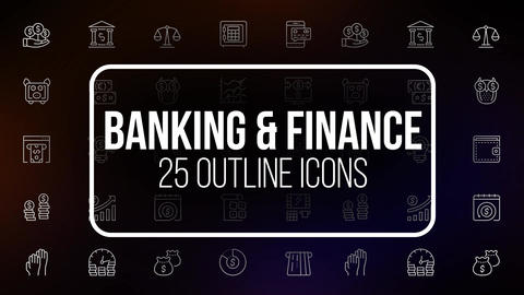 Banking And Finance - 25 Animated Line Icons After Effects Template