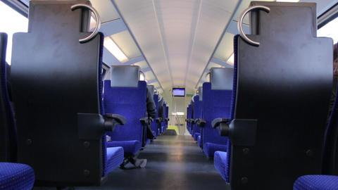 Empty Train Interior Archivo
