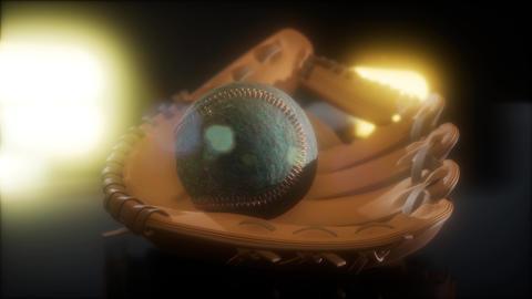 Baseball and Mitt at Dark Background Archivo