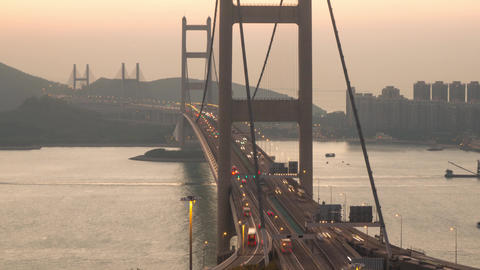 Bridge traffic and big cargo ship Archivo
