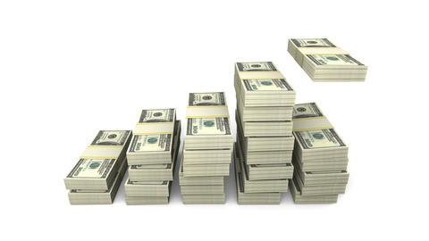 Growing chart of stacks of 100 dollars US bills. Five stacks on white. Animation GIF