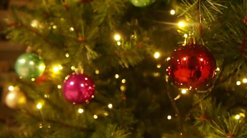 Christmas Balls on Christmas Tree Footage