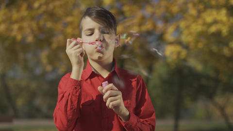 Portrait of the boy in red shirt blowing a soap bubble in the park. Child is Live Action