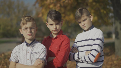 Three boys posing at the camera and straightes hair outdoors. Boys spend time Footage