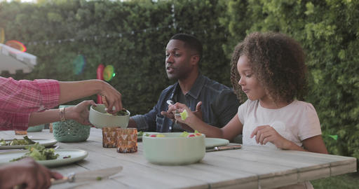 African American family having a family meal outdoors Live Action