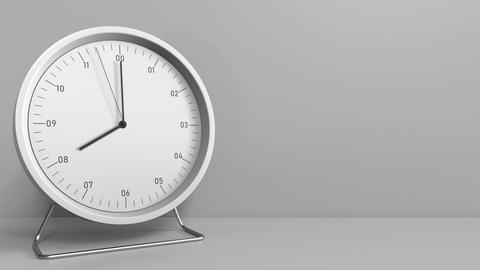 Round clock shows 8:00 or 20:00 sharp. Eight or twenty o'clock. 3D animation Live Action