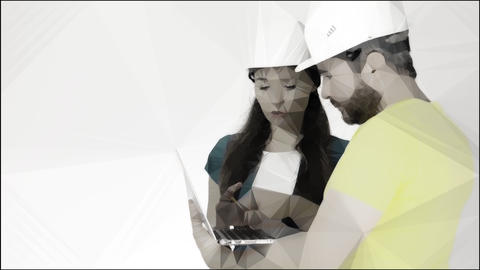 Man and woman wearing construction hard hats use laptop. Conceptual lowpoly clip Footage