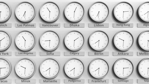 Round clock showing Calgary, Canada time within world time zones. 3D animation Footage