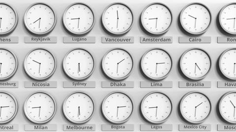 Round clock showing Dhaka, Bangladesh time within world time zones. 3D animation Live Action