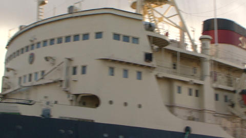 Icebreaker at the quay at the port Stock Video Footage