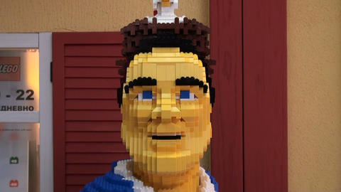 The man in the natural size of the LEGO Footage