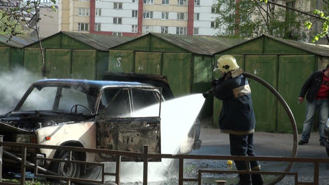The burning car Stock Video Footage