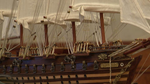 Model sailing ship Stock Video Footage