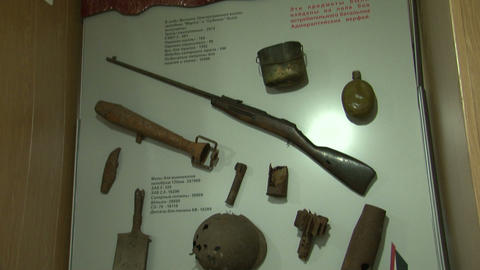 The Museum is a showcase with weapons Stock Video Footage