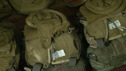 Packed parachutes Stock Video Footage