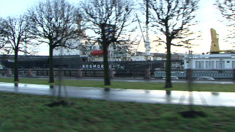 Journey on a city highway along quay Stock Video Footage