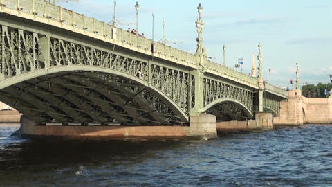 Travel on a boat under the bridge Stock Video Footage