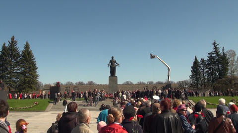 Motherland at Piskarevskoe cemetery Footage