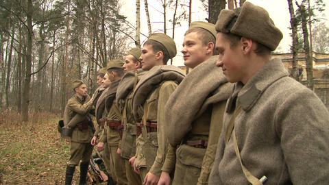 A formation of soldiers Stock Video Footage