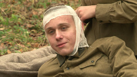 The wounded in the head soldiers Footage