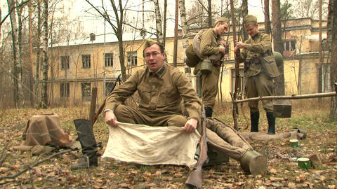 Soldiers wear boots Stock Video Footage