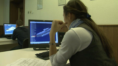 Students at the computer Stock Video Footage