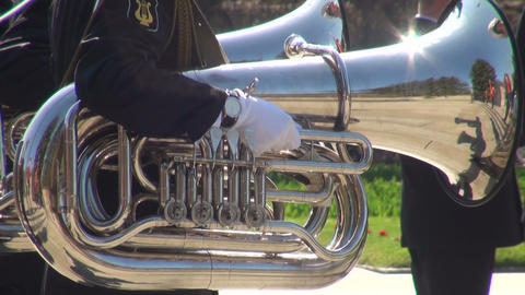 The trumpet in a brass band Stock Video Footage