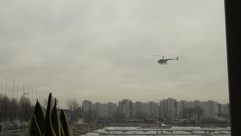The helicopter comes to a landing Stock Video Footage