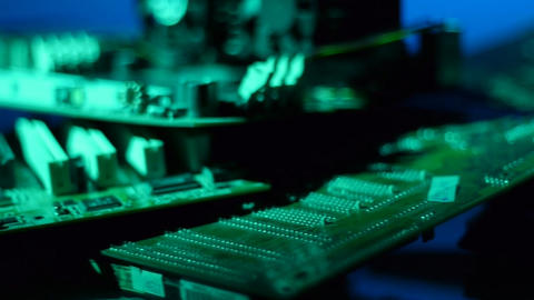 Circuit boards dolly shot 007 Stock Video Footage