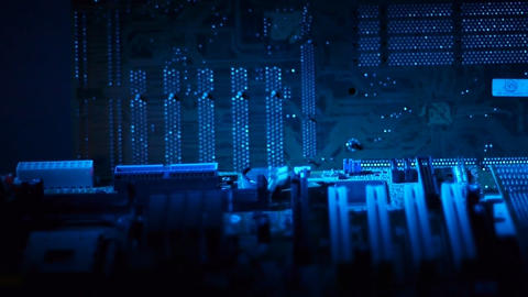Circuit boards dolly shot Stock Video Footage