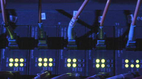 Network converter and cables Stock Video Footage