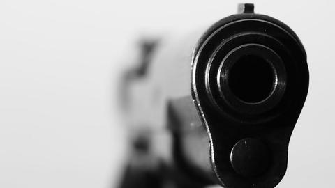Pistol macro BW Stock Video Footage