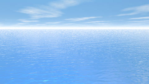 Fly over the ocean - 3D render Animation