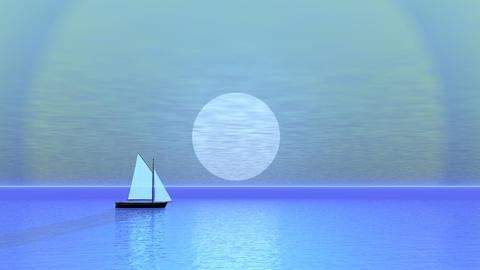 Sailing boat by sunset - 3D render Animation