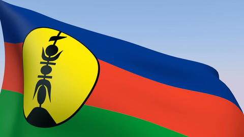 Flag of New Caledonia Stock Video Footage