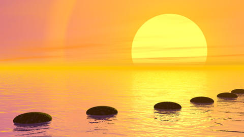 Steps to the sun - 3D render Stock Video Footage