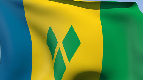 Flag of Saint Vincent and the Grenadines Stock Video Footage