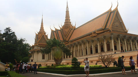 monks visit the palace of Cambodia Live Action