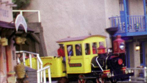 1964: Disneyland Nature's Wonderland Railroad transporting happy tourists Footage