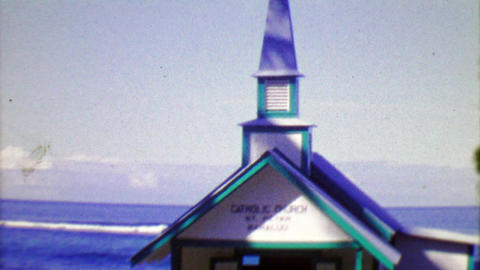 1964: Remote oceanside Roman Catholic church St. Peter Kahaluu Footage
