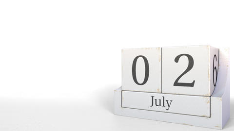 July 2 date on wood bricks calendar. 3D animation Footage