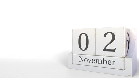 November 2 date on vintage cube calendar, 3D animation Footage