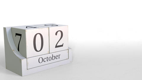 Wooden blocks calendar shows October 2 date, 3D animation Footage